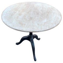 Round Gray Painted Gustavian Tilt-Top Table, Circa 1830s