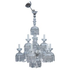 Round Great Classic Chandelier Trasparent Crystal Bohemian Art, 1950s