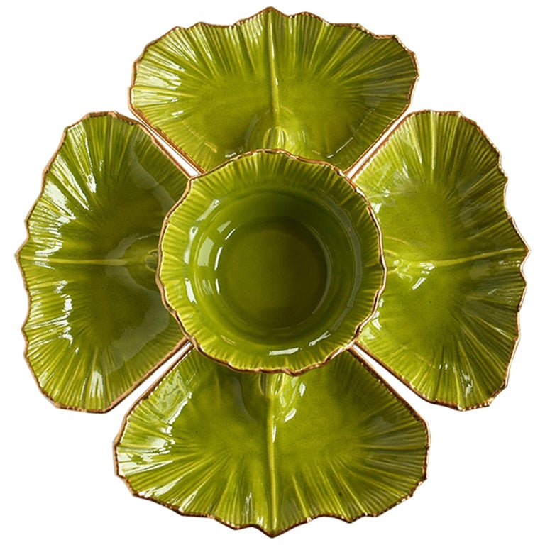 Round Green 5-Piece Lettuce Motif Chip and Dip Platter with Gold Edges, 1970s For Sale