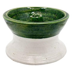 Round Green and White French Ceramic Planter or Catchall Dish