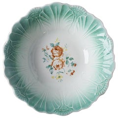 Round Green Ceramic Cabbage Leaf Serving Bowl with Floral Pattern