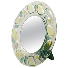 Round Green Yellow Art Glass Table Mirror with White Flowers Made in Italy