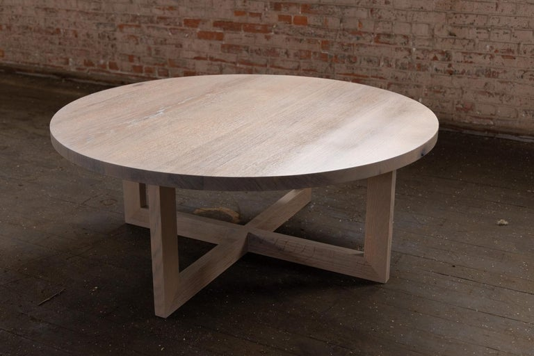 American Craftsman Round Grey Wood Coffee Table in Stained Urban Oak For Sale