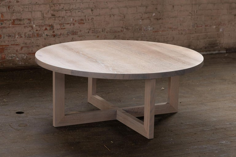 American Round Grey Wood Coffee Table in Stained Urban Oak For Sale
