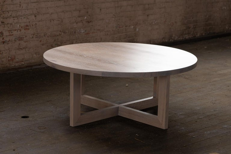 Woodwork Round Grey Wood Coffee Table in Stained Urban Oak For Sale