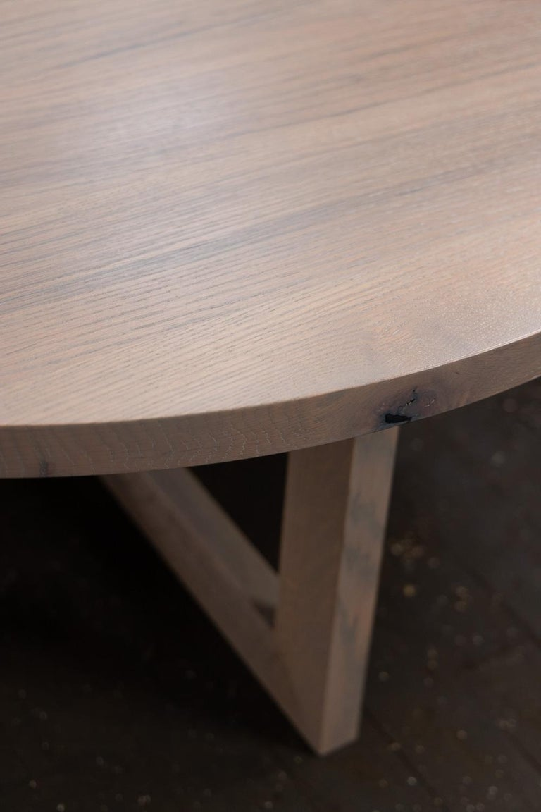Contemporary Round Grey Wood Coffee Table in Stained Urban Oak For Sale