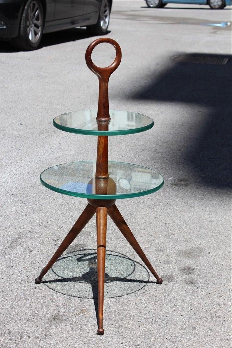Round Gueridon mahogany Cesare Lacca midcentury Italian Design glass top, 1950s.