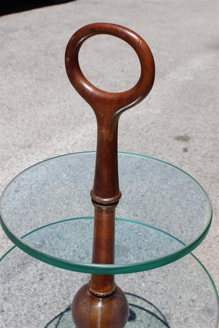 Round Gueridon Mahogany Cesare Lacca Midcentury Italian Design Glass Top 1950s In Good Condition For Sale In Palermo, Sicily