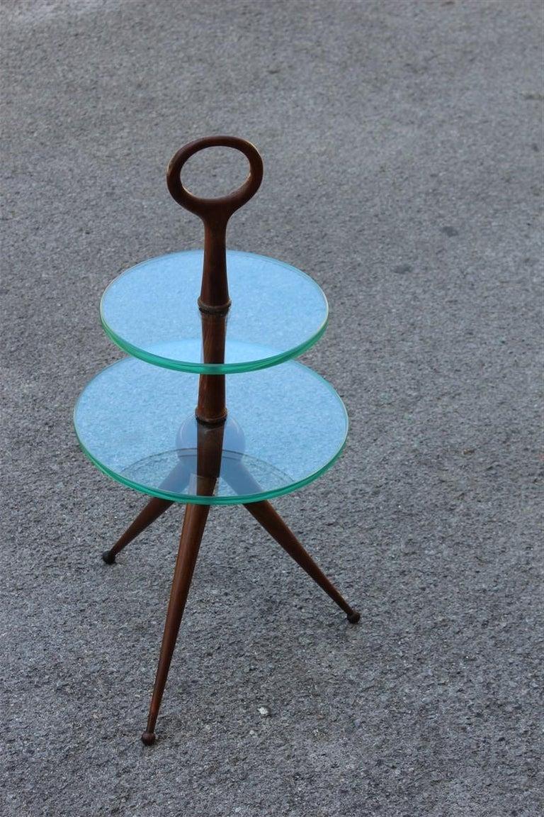 Mid-20th Century Round Gueridon Mahogany Cesare Lacca Midcentury Italian Design Glass Top 1950s For Sale