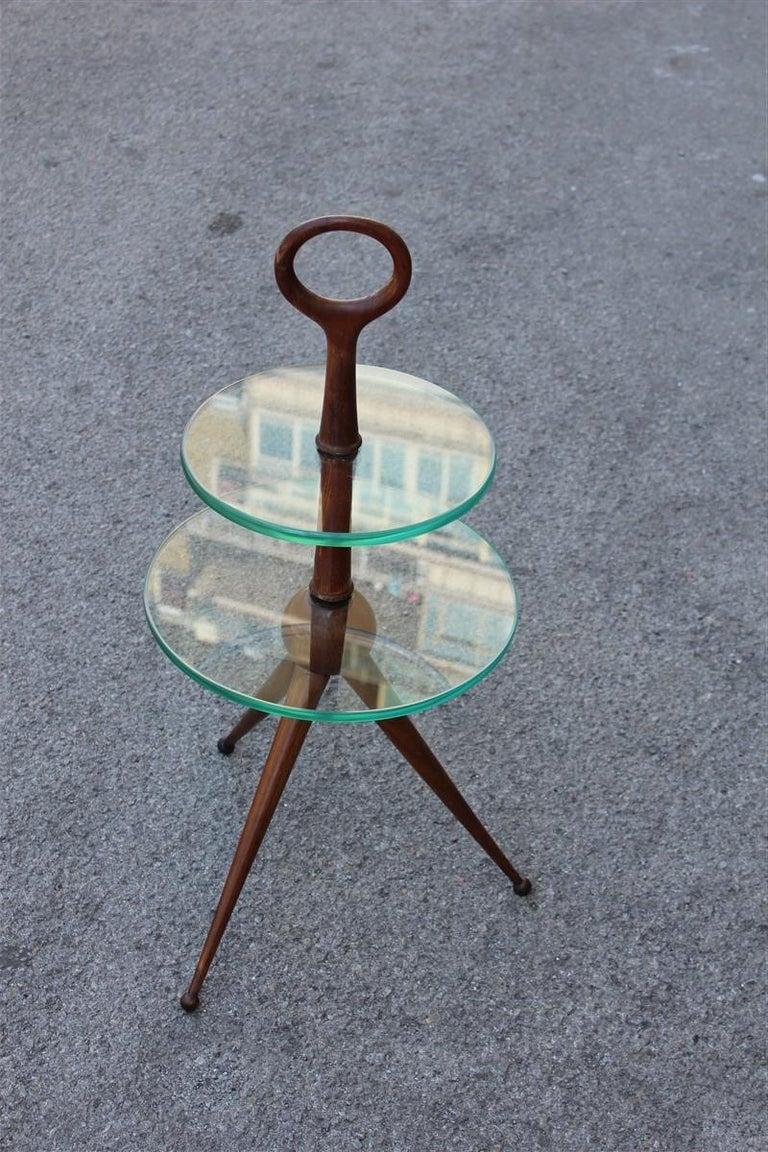 Round Gueridon Mahogany Cesare Lacca Midcentury Italian Design Glass Top 1950s For Sale 1