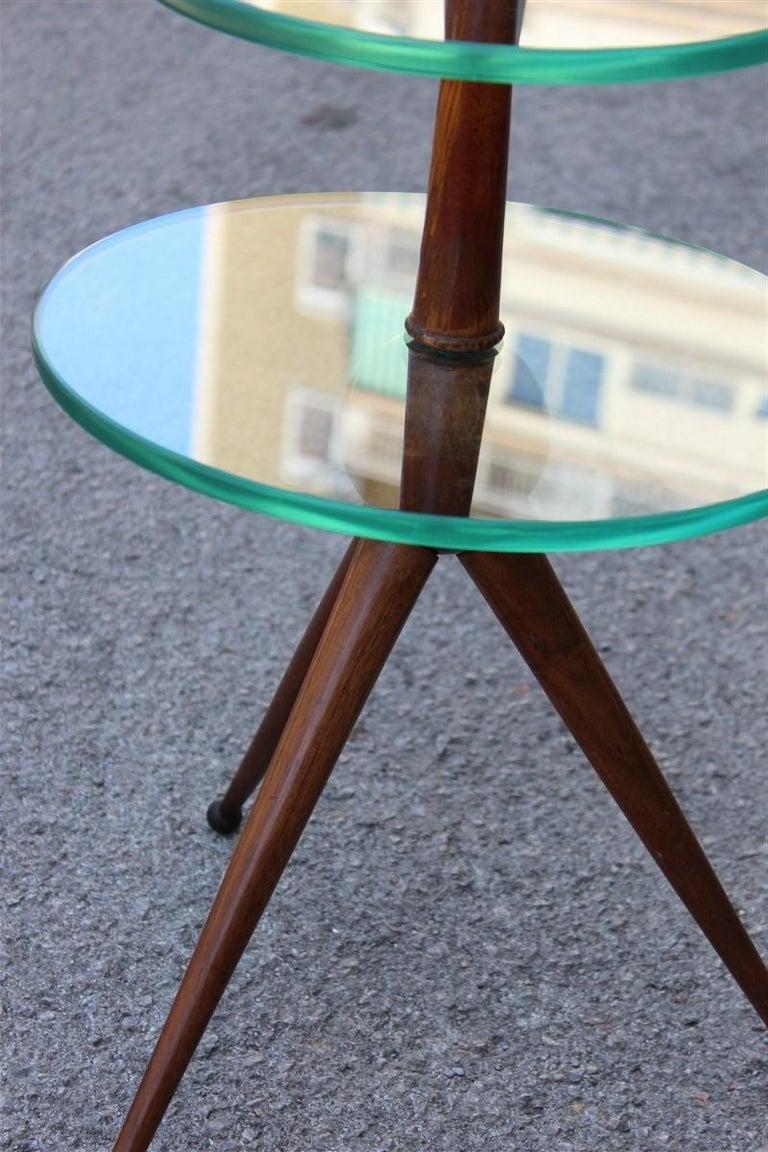 Round Gueridon Mahogany Cesare Lacca Midcentury Italian Design Glass Top 1950s For Sale 2