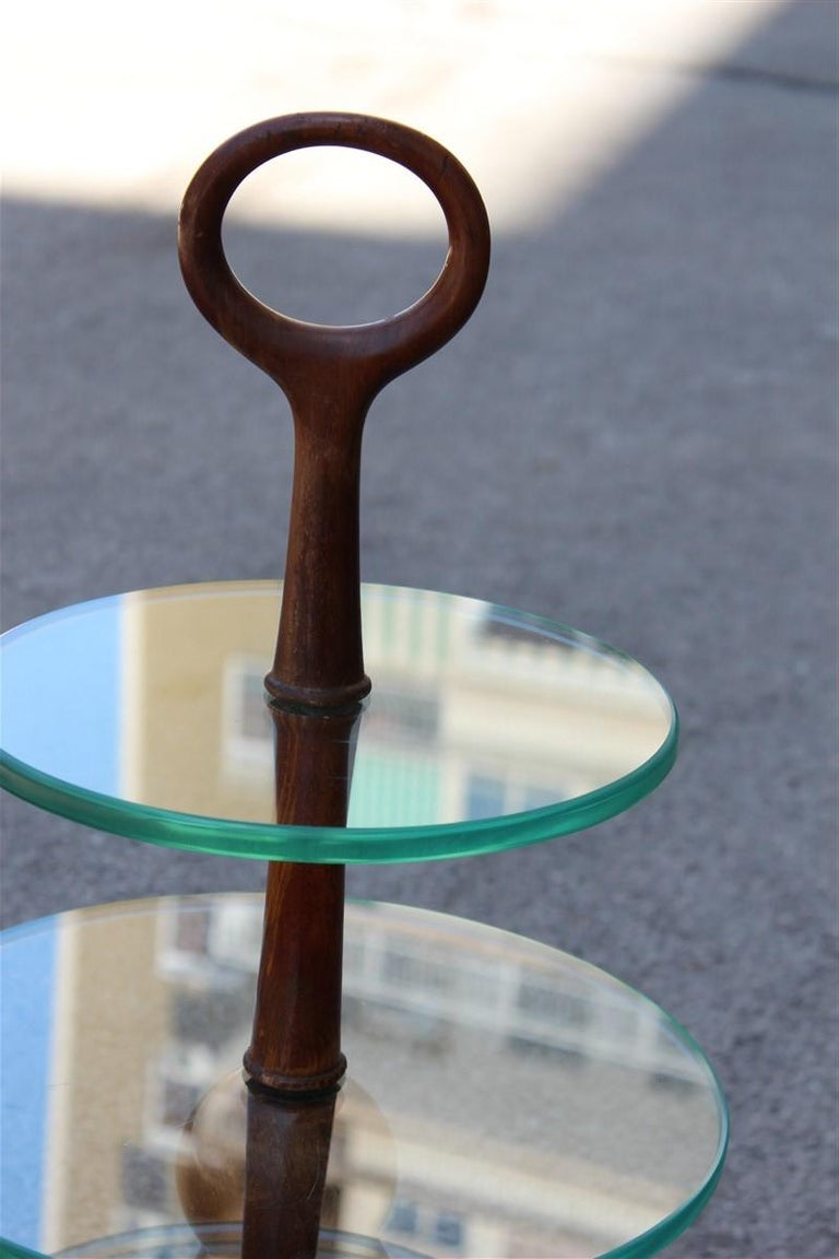 Round Gueridon Mahogany Cesare Lacca Midcentury Italian Design Glass Top 1950s For Sale 3