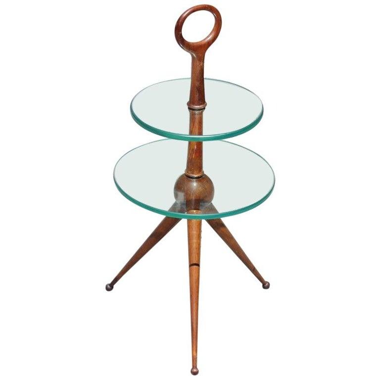 Round Gueridon Mahogany Cesare Lacca Midcentury Italian Design Glass Top 1950s For Sale