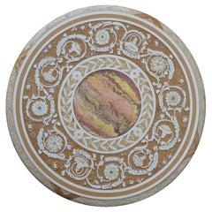 Round Gueridon Table Handmade Scagliola Art Bas-Relief Decoration Iron Base