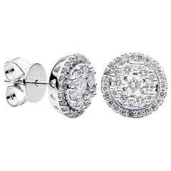 Round Halo Diamond Earrings