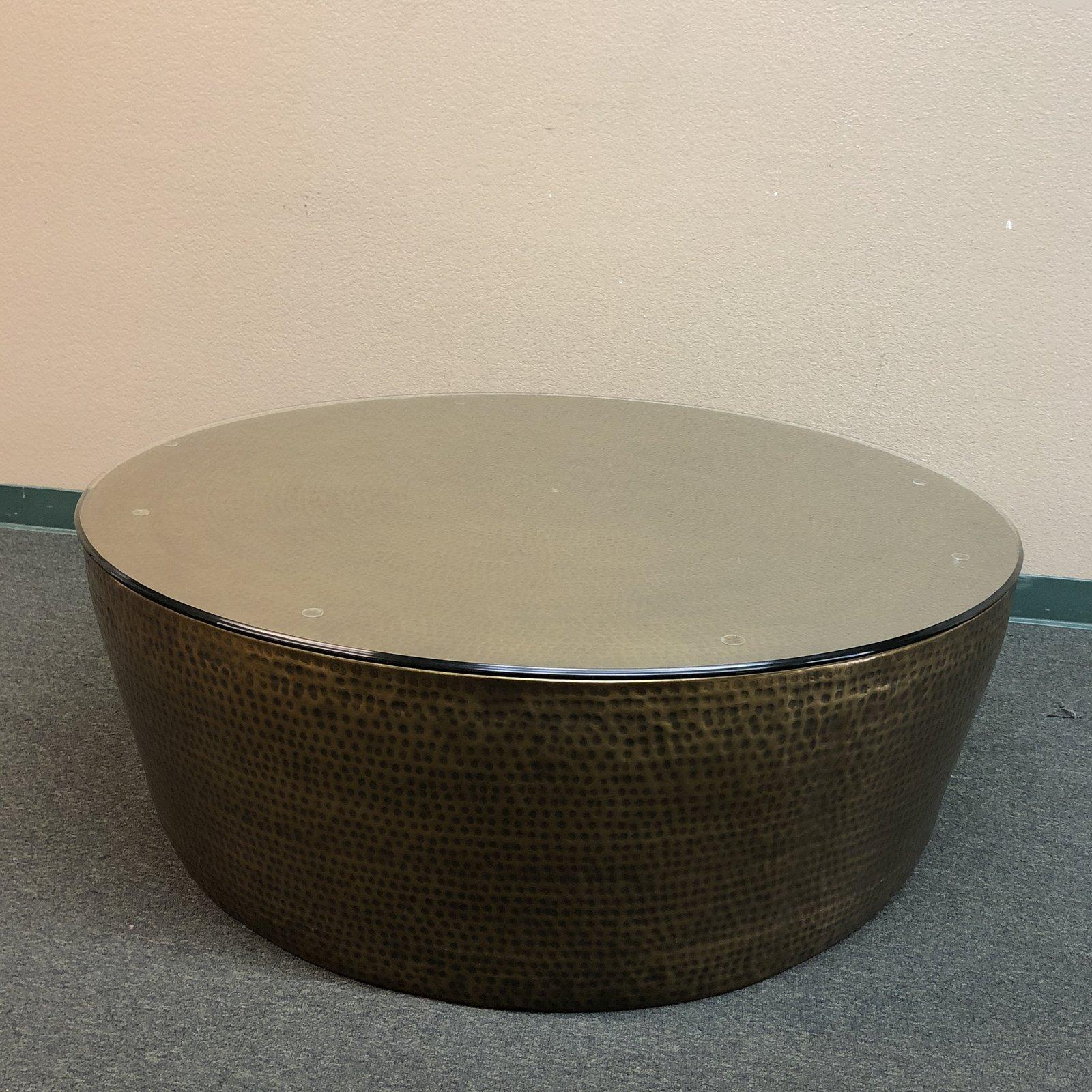 Peachy Round Hammered Brass Coffee Table For Sale At 1Stdibs Gamerscity Chair Design For Home Gamerscityorg