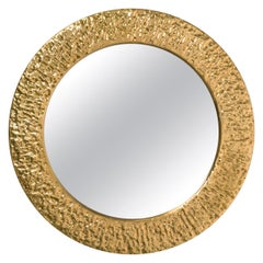 Round Hammered Brass Mirror, circa 1960