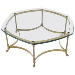 Round Hexagon Solid Brass Base Coffee Table on Hoof Feet Midcentury Italian