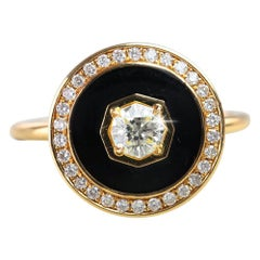 Round Hexagonal Cherry Blossom Cut Black Enameled Side Pave Setting Ring