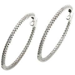 Round Hoops 1.10 Carat Diamond 18 Karat White Gold Earrings
