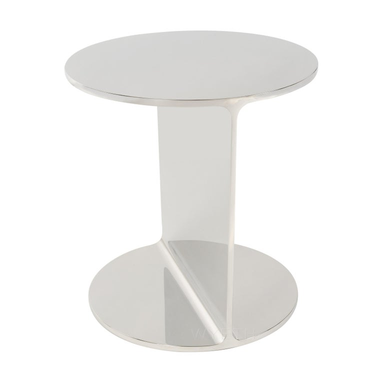 A Wyeth original side or end table, handcrafted in solid polished stainless steel.