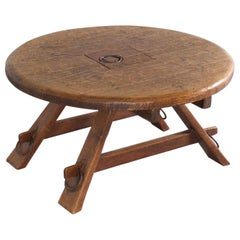 Round Impressive French Artisan Coffee Table in Solid Oak