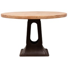 Round Industrial Dining Table with Solid Oak Top