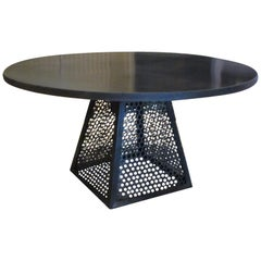 Round Industrial Steel Dining Table, Contemporary