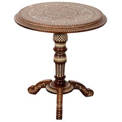 Round Inlaid Wood Pedestal Table
