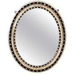 Round Irish Silver Leaf Mirror, circa 1860s