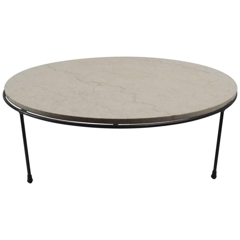 Iron Marble Top Coffee Table: Round Iron And Marble-Top Coffee Table By McCobb For Sale