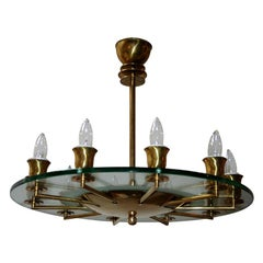 Round Italian Brass and Glass Chandelier, 1940s