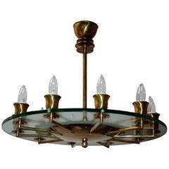 Round Italian Brass and Glass Chandelier, 1940s