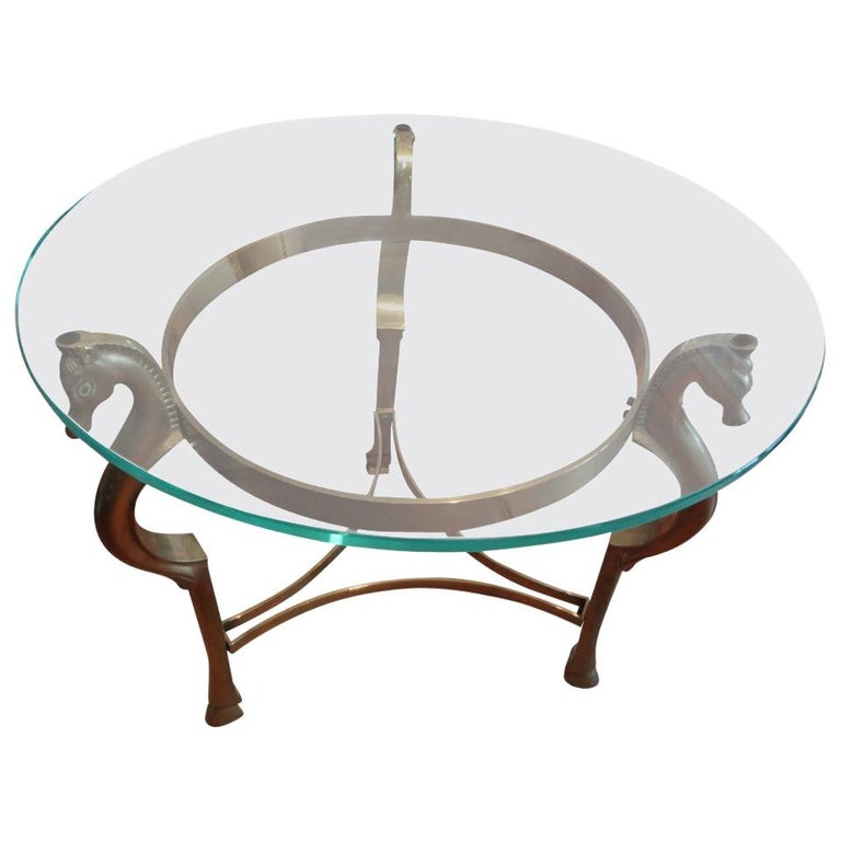 Round Italian Brass Table With Seahorse Supports And Glass Top For Sale