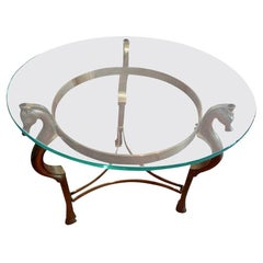 Round Italian Brass Table with Seahorse Supports and Glass Top