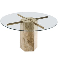 Round Italian Dining Table in Travertine, Brass and Glass