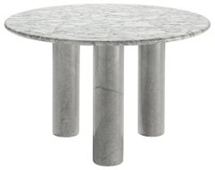 Round Italian Dining Table in White Marble
