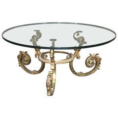 Round Italian Made Hollywood Regency Solid Brass and Glass Coffee Cocktail Table