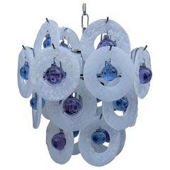 Round Italian Murano Chandelier White Pulegoso Glass ESPERIA