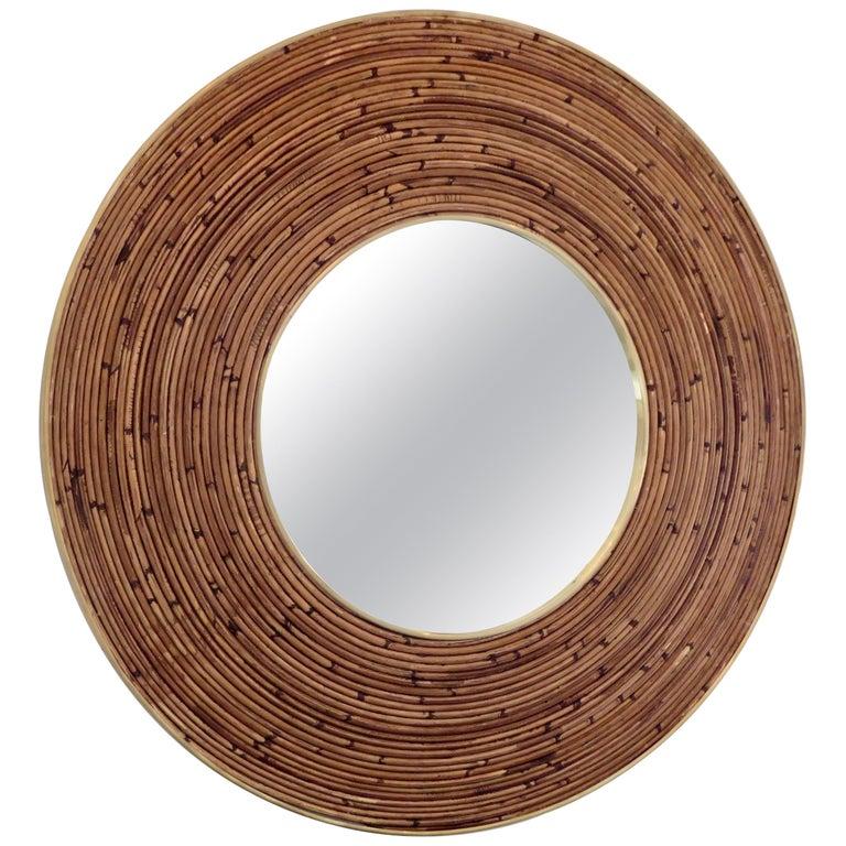 Round Italian Rattan And Brass Framed Mirror Circa 1970