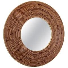 Round Italian Rattan Bamboo and Brass Framed Mirror circa 1970