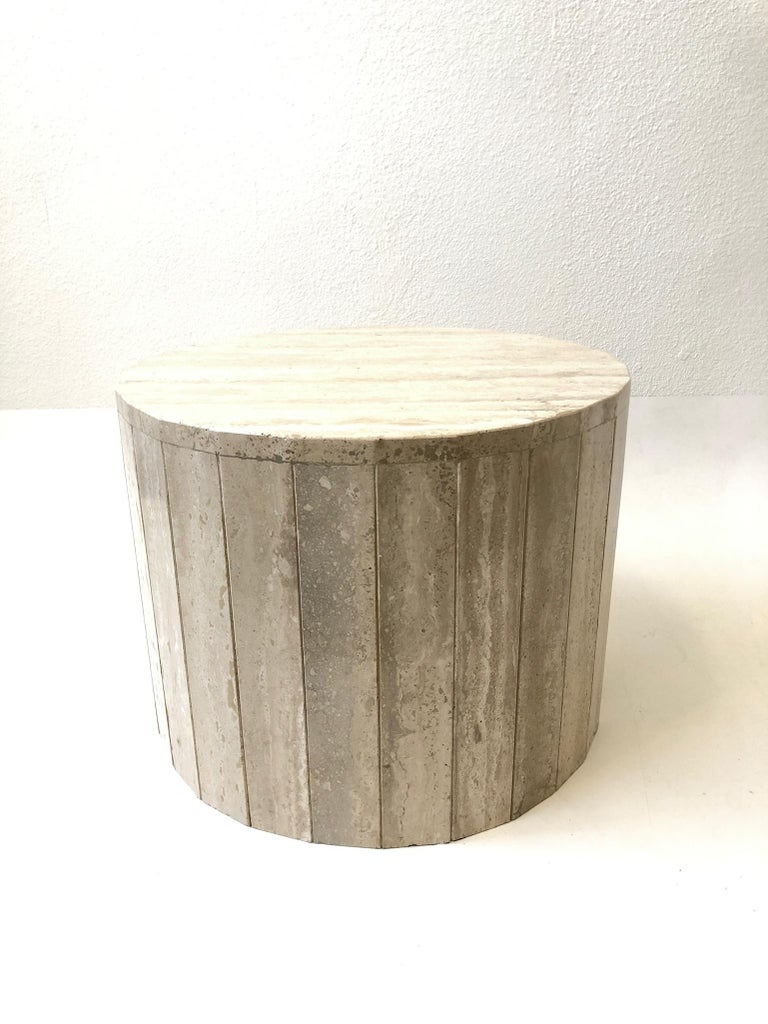 Polished Round Italian Travertine Coffee Table in the Manner of Willy Rizzo