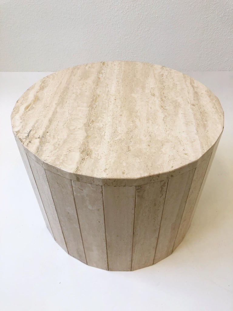 Round Italian Travertine Coffee Table in the Manner of Willy Rizzo In Excellent Condition In Palm Springs, CA