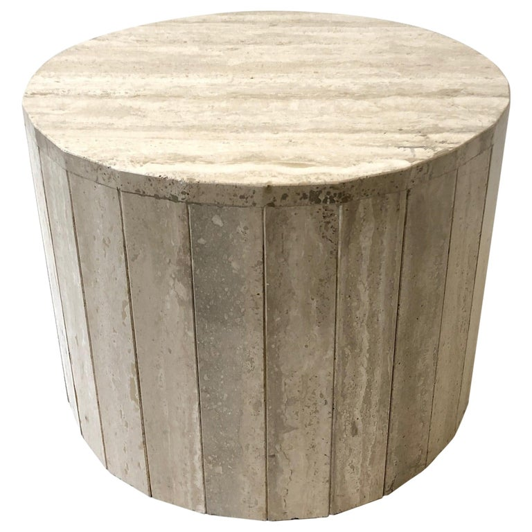 Round Italian Travertine Coffee Table in the Manner of Willy Rizzo