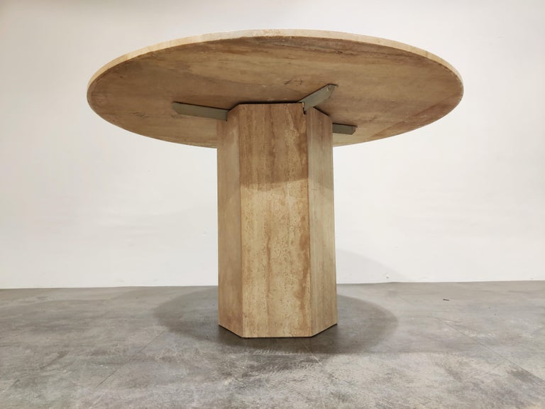 Late 20th Century Round Italian Travertine Dining Table, 1970s For Sale