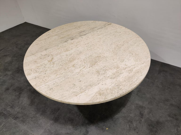 Late 20th Century Round Italian Travertine Dining Table, 1970s