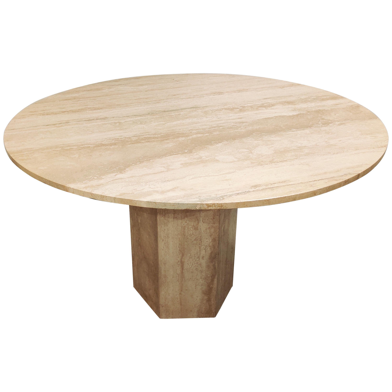 Round Italian Travertine Dining Table, 1970s
