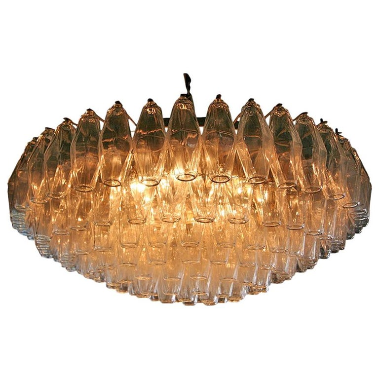 Round Italian Venini 1970s Polyhedron Glass Chandelier For Sale