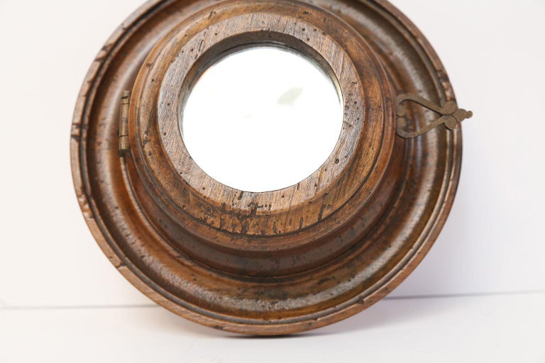 French Provincial Round Italian Vintage Fruit Wood Mirror For Sale