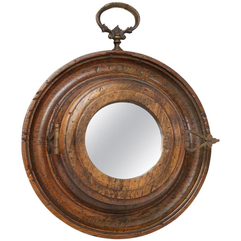 Round Italian Vintage Fruit Wood Mirror For Sale